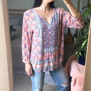 Lucky Brand Long Sleeve V-Neck Floral Blouse XL